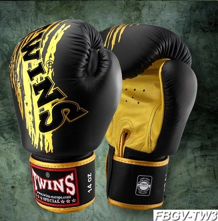 MUAY THAI GLOVES / TWINS SPECIAL / BOXING GLOVES / BLACK GOLD FBGV TW3