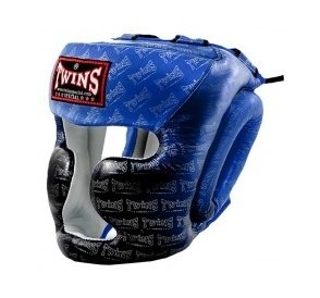 TWINS SPECIAL MUAY THAI BOXING HGL3 TW1 HEAD PROTECTION BLUE Handmade in Leather
