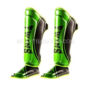 Twins Shin Pads guards GREEN BLACK SGL10 DOUBLE PADDED TW4 CLAW
