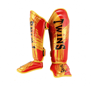 Twins Shin Pads guards RED GOLD SGL10 DOUBLE PADDED TW2