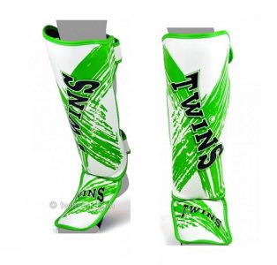Twins Special SHIN GUARDS SLIM PADDED STYLE WHITE GREEN TW2 SGL3