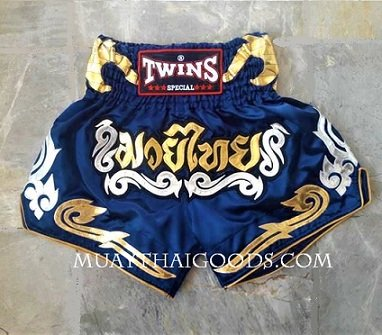 TWINS MUAY THAI SHORTS SATIN BLUE NIGHT GOLD