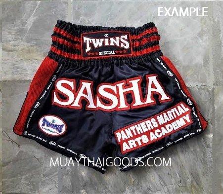 custom muay thai shorts twins black