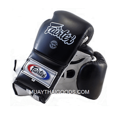 BGL7 FAIRTEX BLACK WHITE BOXING GLOVES MEXICAN STYLE LACES MADE IN LEATHER