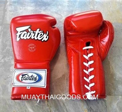 BGL7 FAIRTEX RED BOXING GLOVES MEXICAN STYLE LACE UP