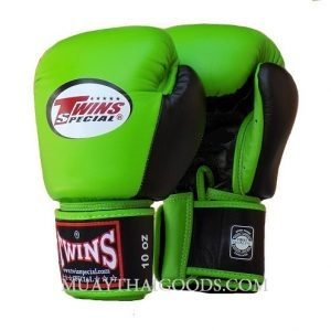 BGVL3 MUAY THAI BOXING GLOVES GREEN BLACK TWINS SPECIAL