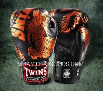 FBGV-49 TWINS SPECIAL BOXING GLOVES DRAGON BLACK BRONZE