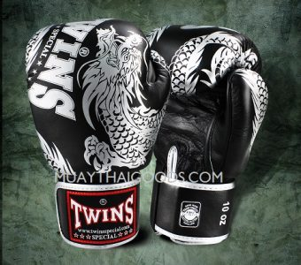 FBGV-49 TWINS SPECIAL BOXING GLOVES DRAGON BLACK SILVER