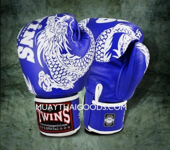 FBGV-49 TWINS SPECIAL BOXING GLOVES DRAGON BLUE WHITE