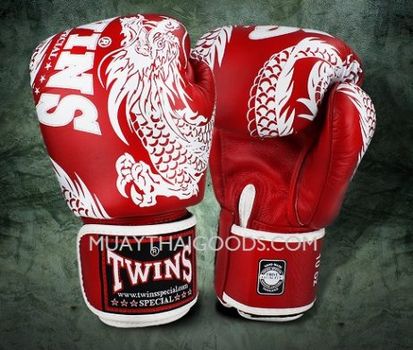 FBGV-49 TWINS SPECIAL BOXING GLOVES DRAGON RED WHITE