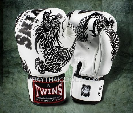 FBGV-49 TWINS SPECIAL BOXING GLOVES DRAGON WHITE BLACK
