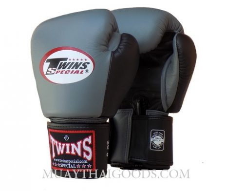 MUAY THAI KICK BOXING GLOVES BY TWINS SPECIAL BLACK GREY BGVL3