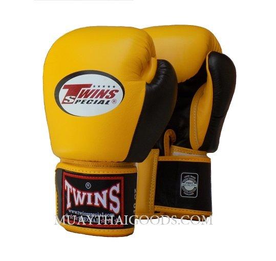 Shiv Naresh Teens Boxing Gloves 12oz: MUAY THAI KICK BOXING GLOVES BY TWINS SPECIAL YELLOW BLACK