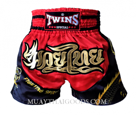 TWINS SPECIAL MUAY THAI DRAGON SIDE SHORTS RED