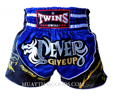 TWINS SPECIAL MUAY THAI NEVER GIVE UP DRAGON SHORTS BLUE