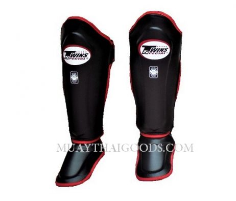 Twins Special Shin guards Leather Double Padded Protection red trim SGL10 MUAY THAI GOODS