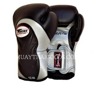 AIRFLOW TWINS SPECIAL BGVL6 NEW BLACK SILVER MUAY THAI BOXING GLOVES MADE IN LEATHER