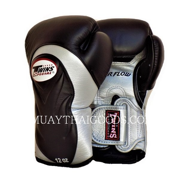 AIRFLOW TWINS SPECIAL BGVL6 NEW BLACK SILVER MUAY THAI BOXING GLOVES