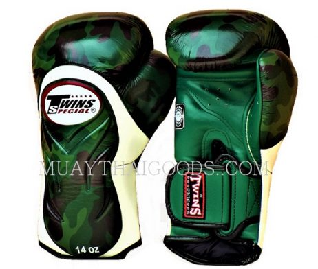 CAMO BGVL6 ARMY BOXING GLOVES TWINS SPECIAL DARK GREEN WHITE