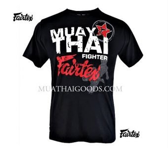 TST68 MUAY THAI KICKBOXING TSHIRTS BLACK FAIRTEX