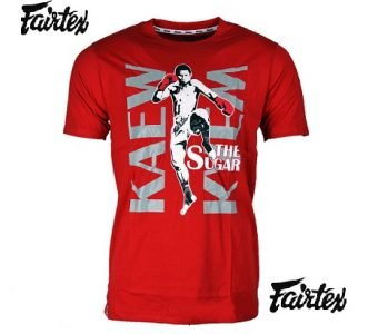 TST87 KAEW SUGUAR MUAY THAI KICKBOXING TSHIRTS RED FAIRTEX