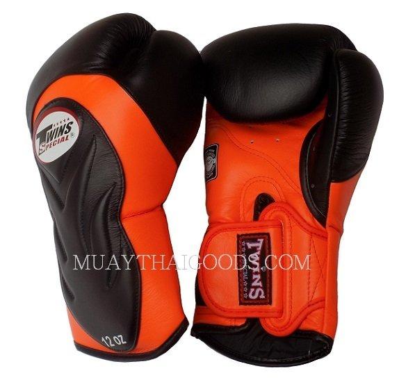 Shiv Naresh Teens Boxing Gloves 12oz: TWINS SPECIAL BGVL6 NEW BLACK ORANGE PALM MUAY THAI BOXING
