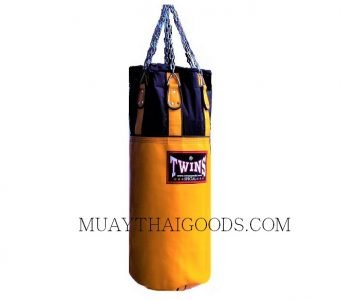 TWINS SPECIAL PUNCHING BAG GYM TRAINING HBNL3 DARK YELLOW (Unfilled) MADE IN LEATHER