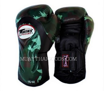 CAMO BGVL6 ARMY BOXING GLOVES TWINS SPECIAL CAMOUFLAGE GREEN JUNGLE MADE IN LEATHER ONLY IN THAILAND