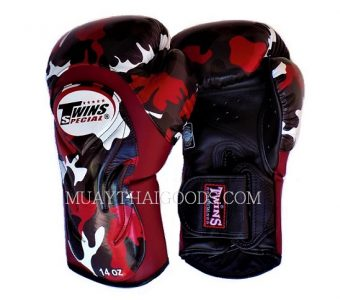 CAMO BGVL6 ARMY BOXING GLOVES TWINS SPECIAL CAMOUFLAGE RED BLACK MADE IN LEATHER ONLY IN THAILAND