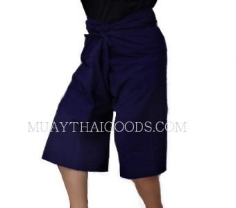 CHAYA MUAY THAI BORAN SHORTS BLUE COTTON 100% MADE IN CHIANG MAI, THAILAND