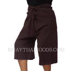 CHAYA MUAY THAI BORAN SHORTS BROWN COTTON 100% MADE IN CHIANG MAI, THAILAND