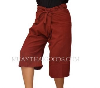 CHAYA MUAY THAI BORAN SHORTS BURGUNDY COTTON 100% FREE SIZE