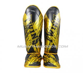 FANCY TWINS SHIN GUARDS LEATHER SGL10 DOUBLE PADDED TW2 BLACK GOLD
