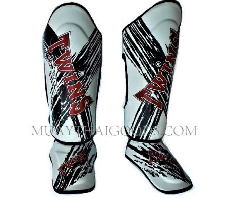 FANCY TWINS SHIN GUARDS SGL10 DOUBLE PADDED TW2 WHITE RED MADE IN LEATHER