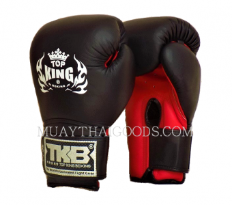 MUAY THAI KICKBOXING GLOVES LEATHER BLACK RED TOPKING