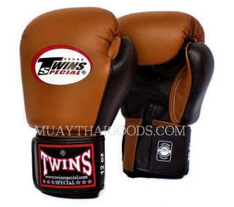 BGVL3 BROWN BLACK MUAY THAI KICK BOXING GLOVES TWINS SPECIAL