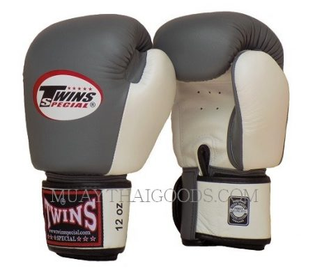 BGVL3 GREY WHITE MUAY THAI KICK BOXING GLOVES TWINS SPECIAL