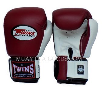 BGVL3 MAROON WHITE MUAY THAI KICK BOXING GLOVES TWINS SPECIAL
