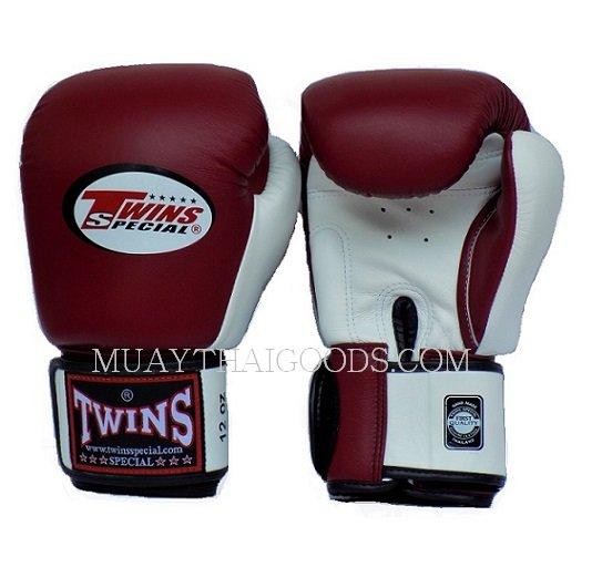 Shiv Naresh Teens Boxing Gloves 12oz: BGVL3 MAROON WHITE MUAY THAI KICK BOXING GLOVES TWINS