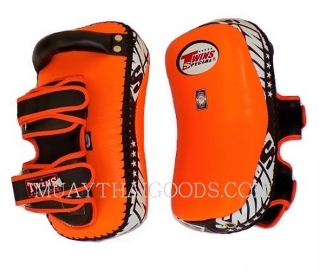 KPL12 LEATHER KICKING PADS FOREARM TRAINING CURVED TWINS SPECIAL ORANGE BLACK