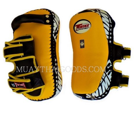 KPL12 LEATHER KICKING PADS FOREARM TRAINING CURVED TWINS SPECIAL YELLOW