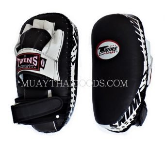 PML23 NEW FOREARM MUAY THAI BOXING KICK PADS TRAINING CURVED TWINS SPECIAL BLACK WHITE