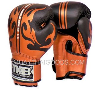 MUAY THAI KICKBOXING WORLD SERIES GLOVES LEATHER BRONZE TOP KING
