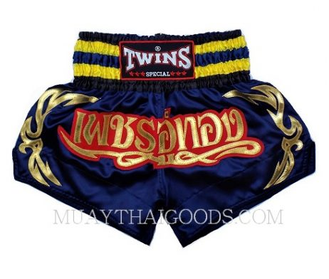 NAVY BLUE YELLOW MUAY THAI BOXING TWINS SPECIAL SHORTS TBS 6004