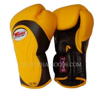 TWINS BGVL6 NEW YELLOW BLACK PALM MUAY THAI BOXING GLOVES MADE IN LEATHER