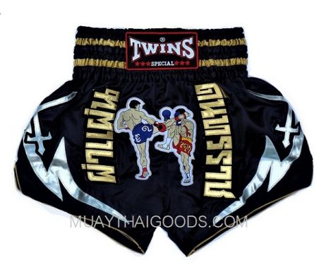 WARRIOR EMBROIDED MUAY THAI BOXING SHORTS BLACK TWINS SHORTS