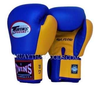 AIRFLOW BGVL3 MUAY THAI GLOVES BLUE YELLOW TWINS SPECIAL