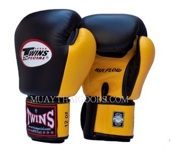 AIRFLOW BGVL3 MUAY THAI GLOVES YELLOW BLACK TWINS SPECIAL