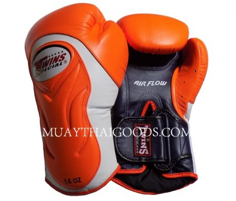 AIRFLOW TWINS SPECIAL BGVL6 ORANGE WHITE NAVY BLUE PALM BOXING GLOVES MADE IN LEATHER