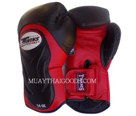 BGVL6 TWINS SPECIAL BLACK RED MUAY THAI KICK BOXING GLOVES